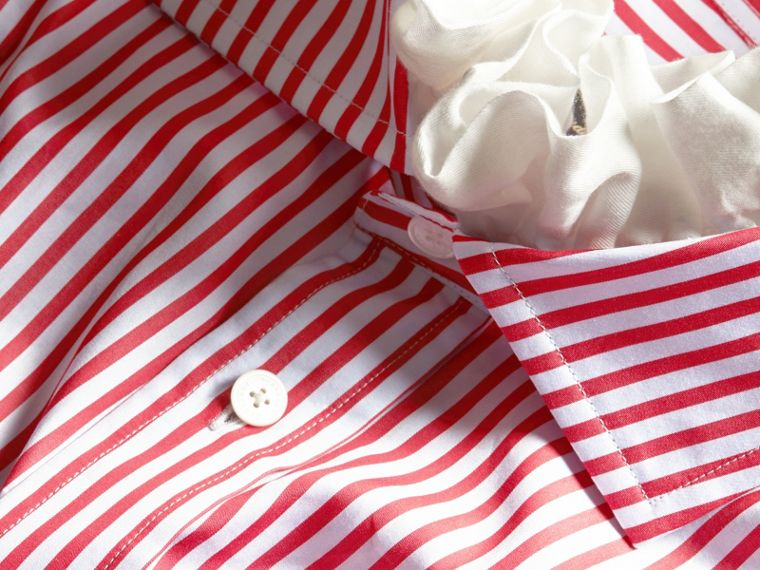 Cardinal red Ruff Collar Striped Cotton Shirt - cell image 1