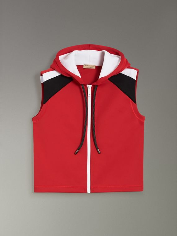 Stripe Detail Jersey Sleeveless Hoodie in Bright Poppy Red - Women | Burberry - cell image 3