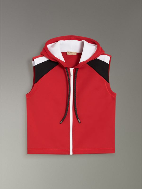 Stripe Detail Jersey Sleeveless Hoodie in Bright Poppy Red - Women | Burberry United Kingdom - cell image 3
