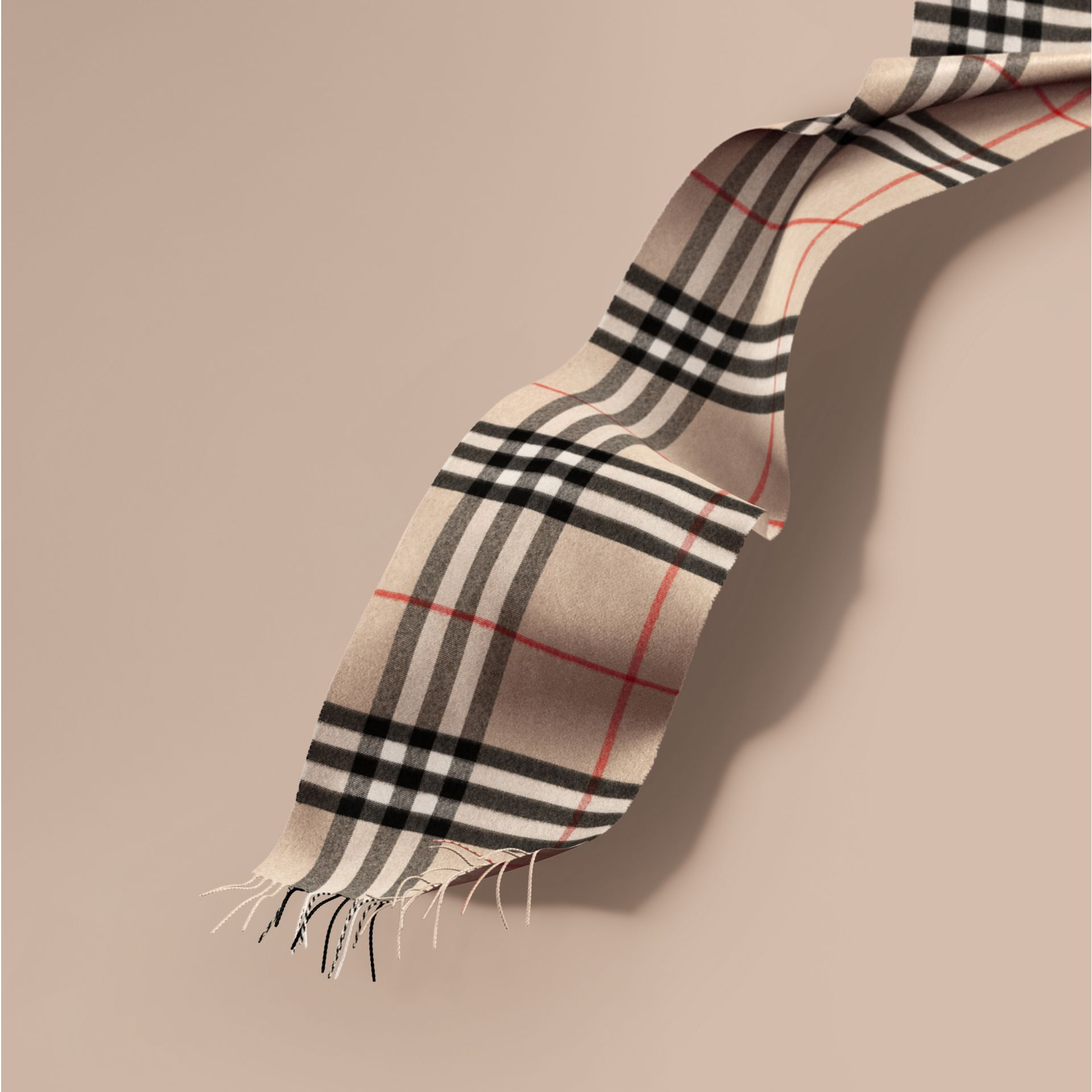 The Classic Cashmere Scarf in Check Stone - gallery image 1