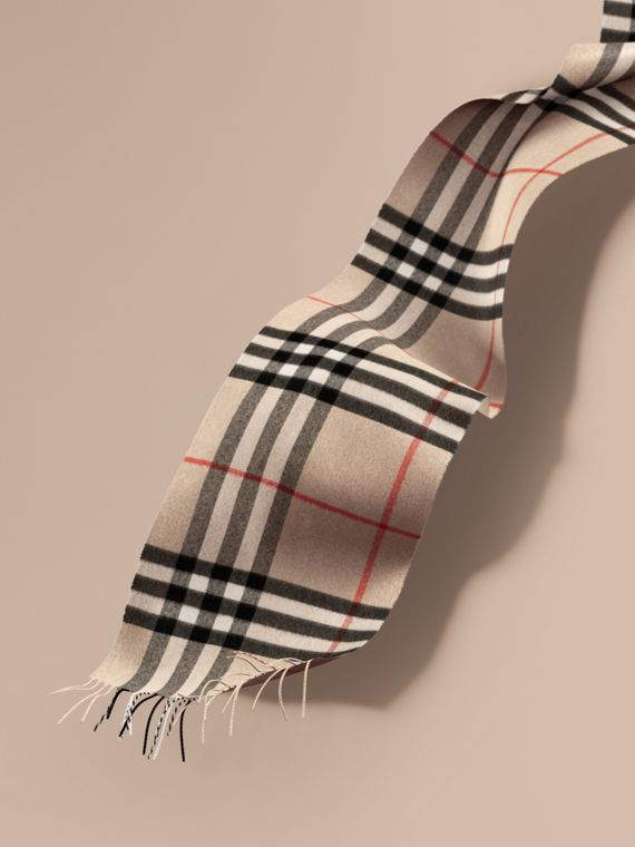 The Classic Cashmere Scarf in Check in Stone | Burberry