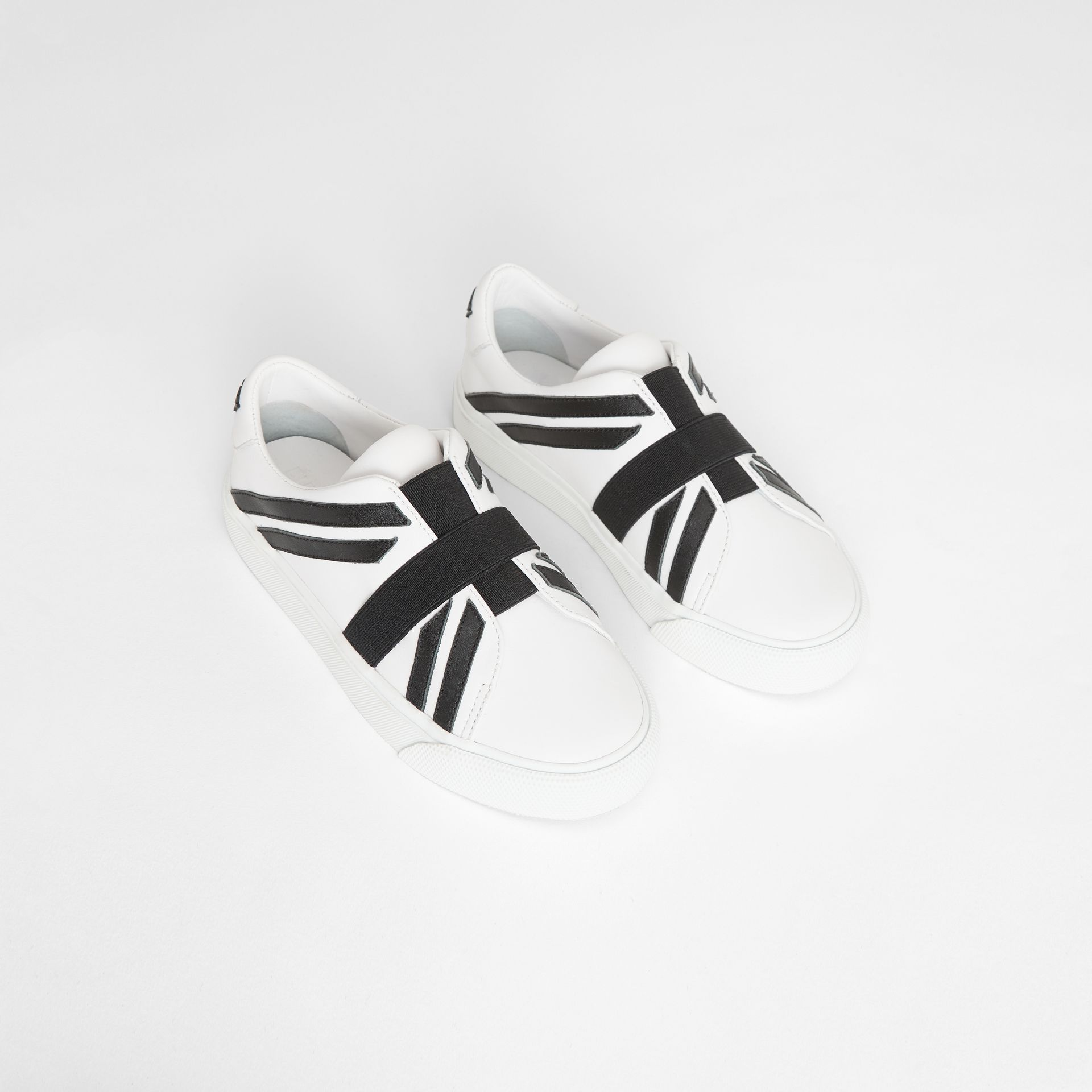Union Jack Motif Slip-on Sneakers in Optic White/black - Children | Burberry Australia - gallery image 0