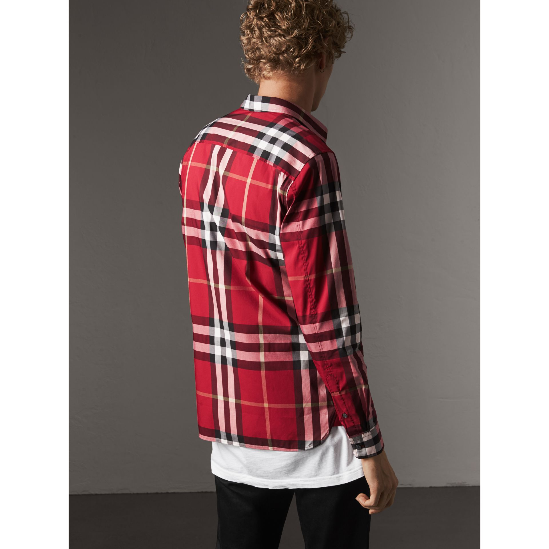 Check Stretch Cotton Shirt in Parade Red - Men | Burberry United States - gallery image 3