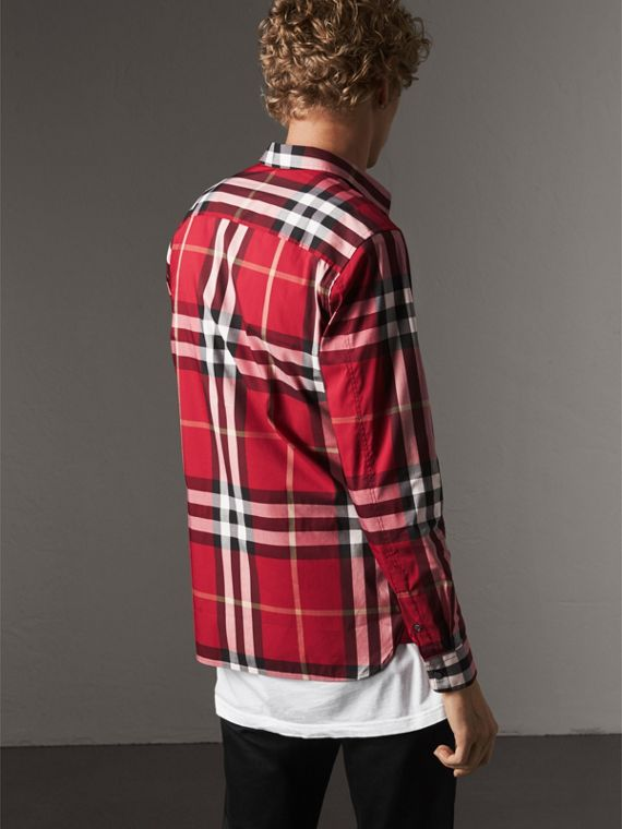 Check Stretch Cotton Shirt in Parade Red - Men | Burberry United States - cell image 2