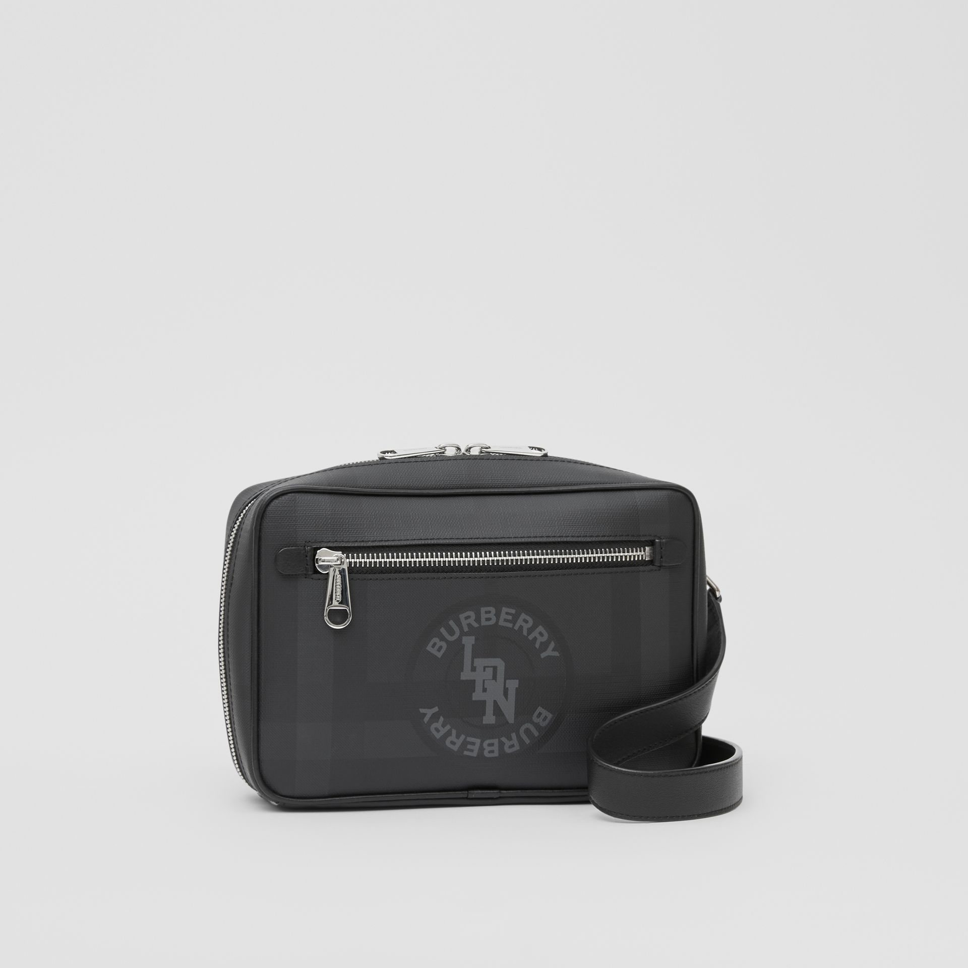 Logo Graphic London Check Crossbody Bag in Dark Charcoal - Men | Burberry United Kingdom - gallery image 6
