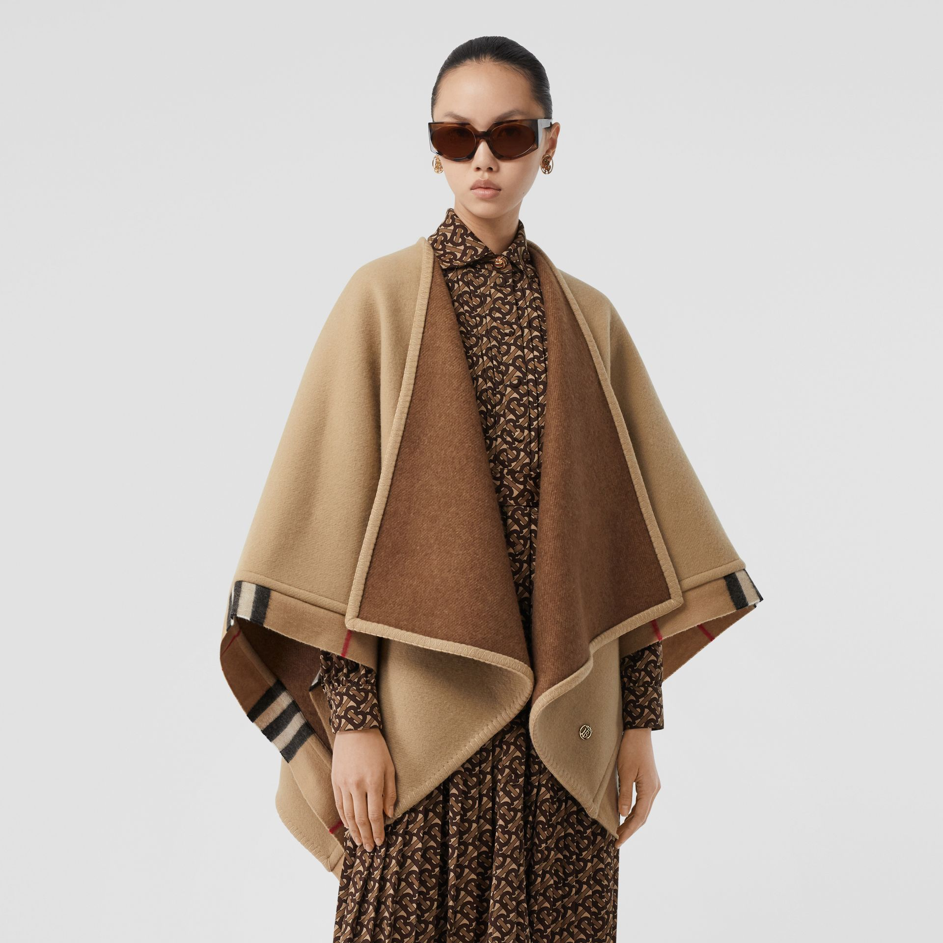 Check Trim Wool Cashmere Cape in Archive Beige - Women | Burberry - gallery image 6