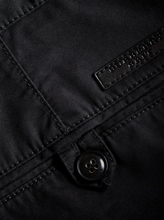 Straight Fit Cotton Chinos in Black - Men | Burberry - cell image 1
