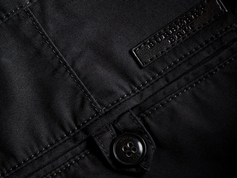 Straight Fit Cotton Chinos in Black - Men | Burberry Canada - cell image 1