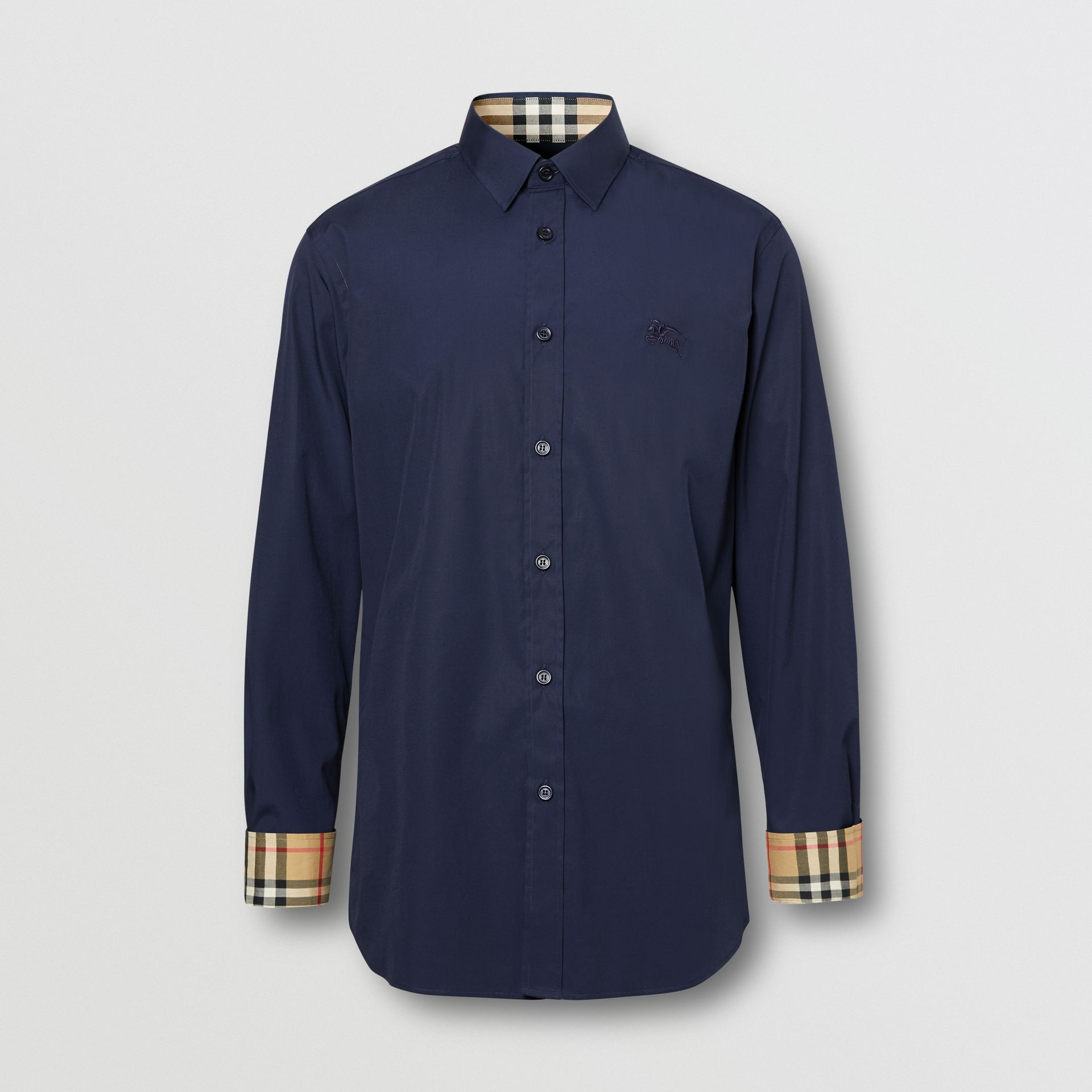 Slim Fit Embroidered EKD Stretch Cotton Shirt in Navy - Men | Burberry - gallery image 3