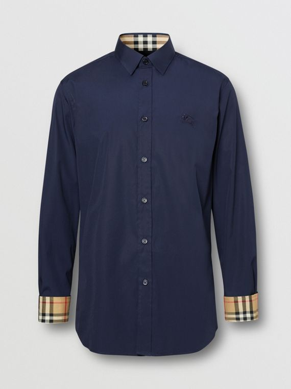 Slim Fit Embroidered EKD Stretch Cotton Shirt in Navy