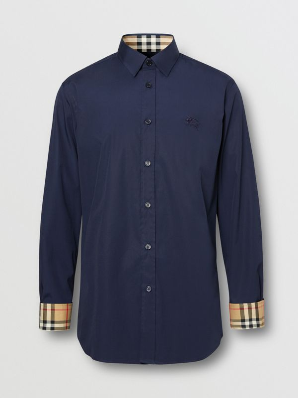 Slim Fit Embroidered EKD Stretch Cotton Shirt in Navy - Men | Burberry - cell image 3