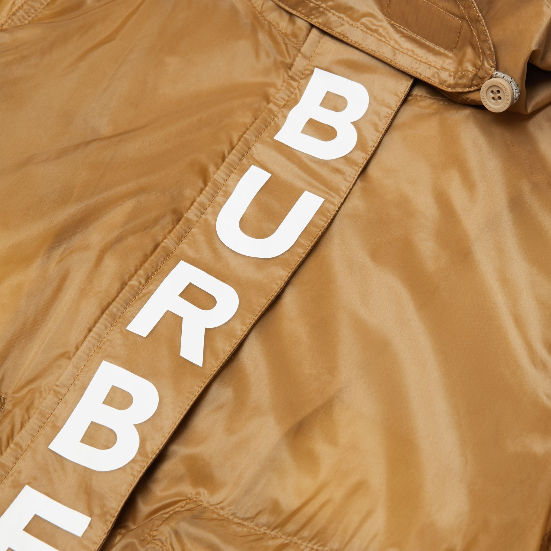 Detachable Hood Logo Print Lightweight Parka in Honey | Burberry - gallery image 1