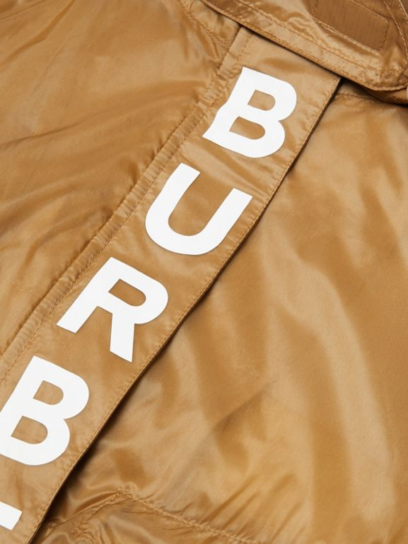 Detachable Hood Logo Print Lightweight Parka in Honey | Burberry - cell image 1