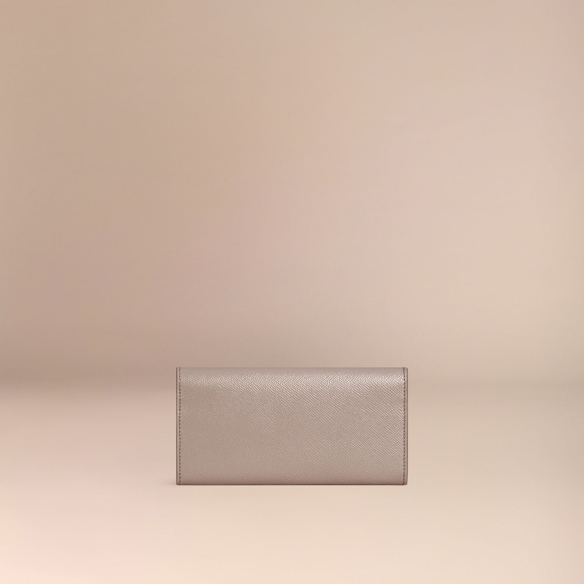 Pale grey Patent London Leather Continental Wallet - gallery image 4