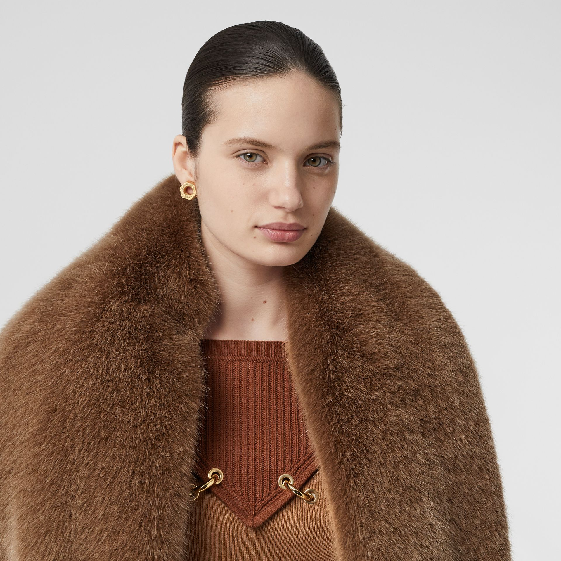 Faux Fur and Cashmere Stole in Camel - Women | Burberry - gallery image 6