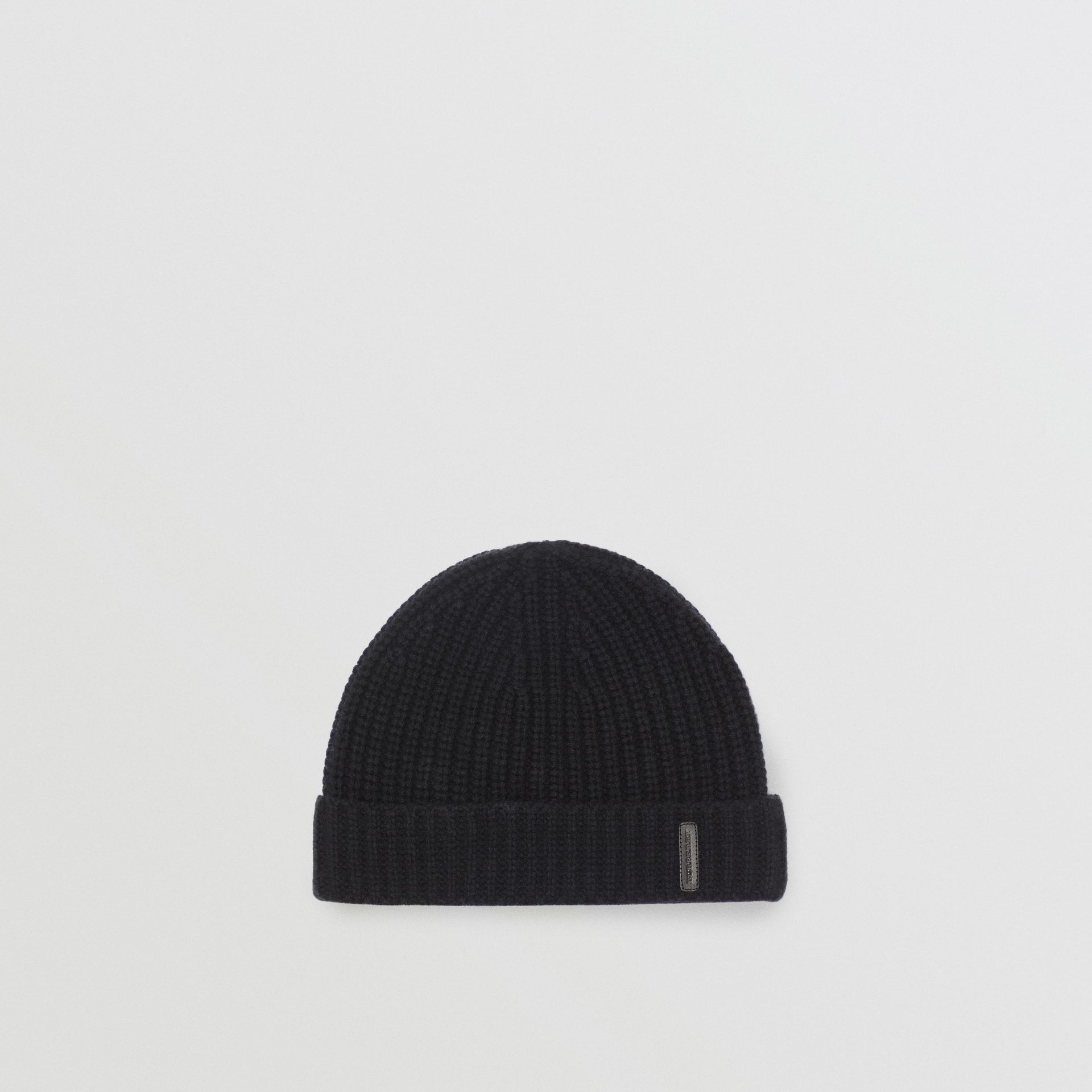 Rib Knit Cashmere Beanie in Black | Burberry - gallery image 0