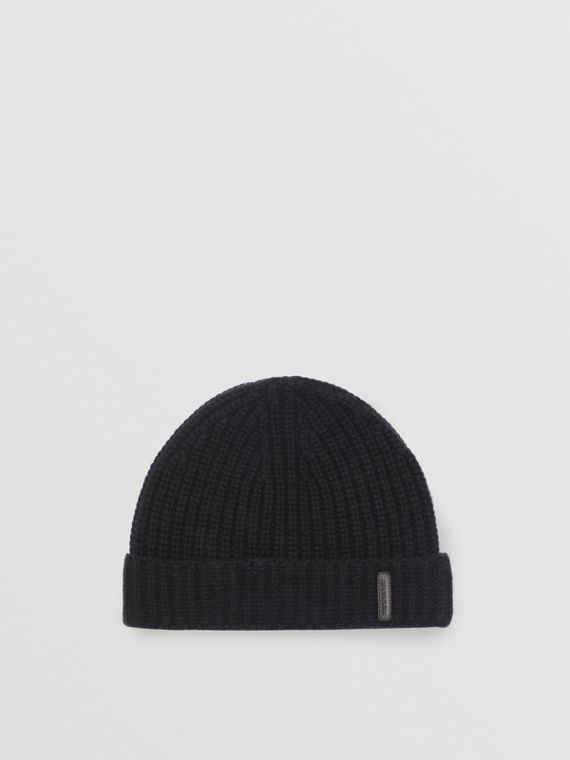 Rib Knit Cashmere Beanie in Black
