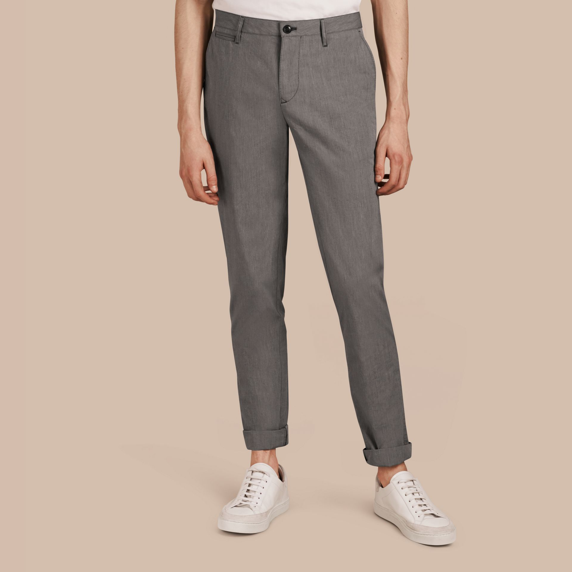 Dark grey Cotton Tapered Trousers - gallery image 1
