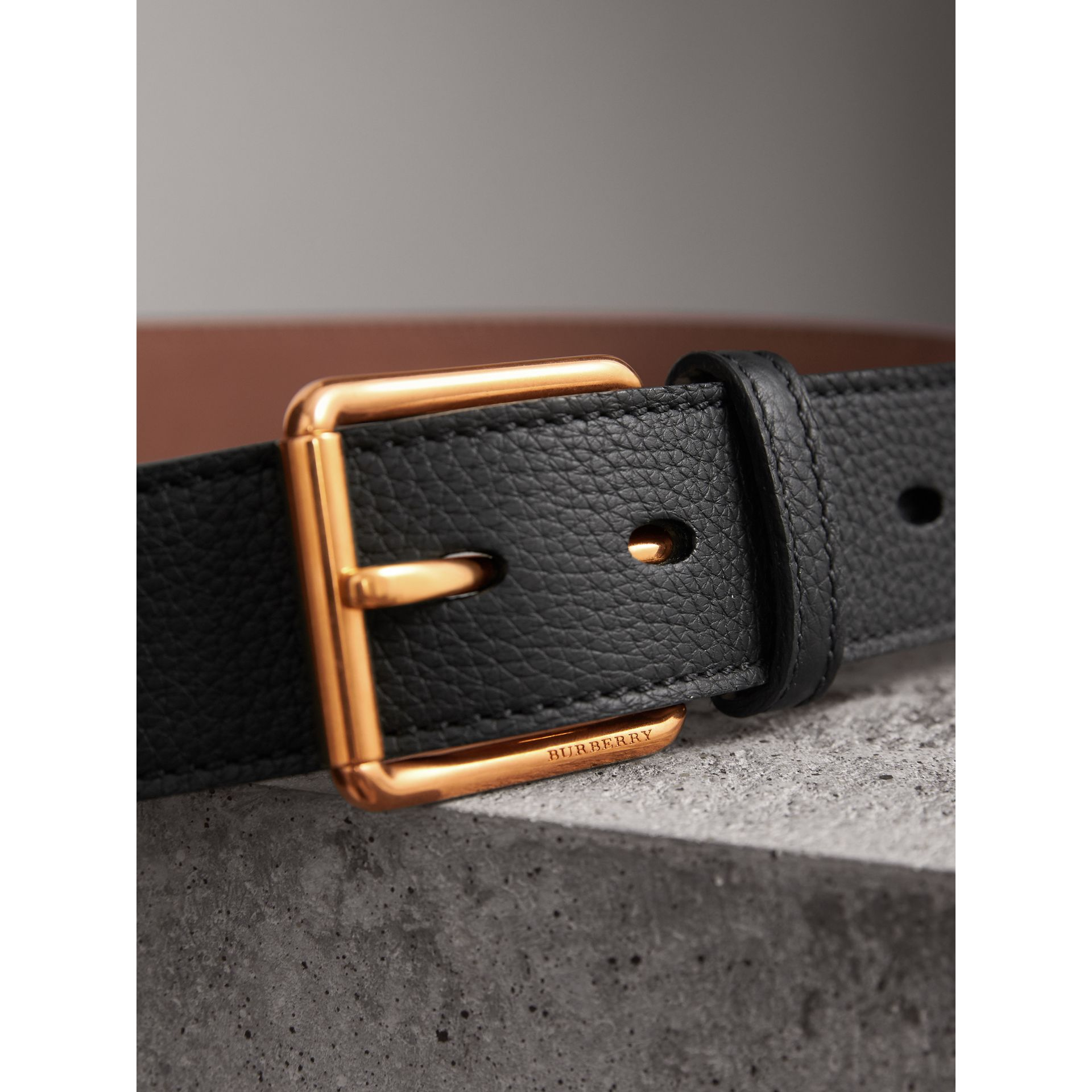Grainy Leather Belt in Black - Men | Burberry - gallery image 2