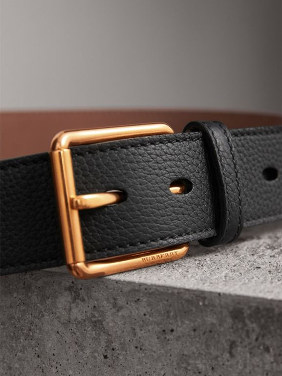 Grainy Leather Belt in Black - Men | Burberry - cell image 1