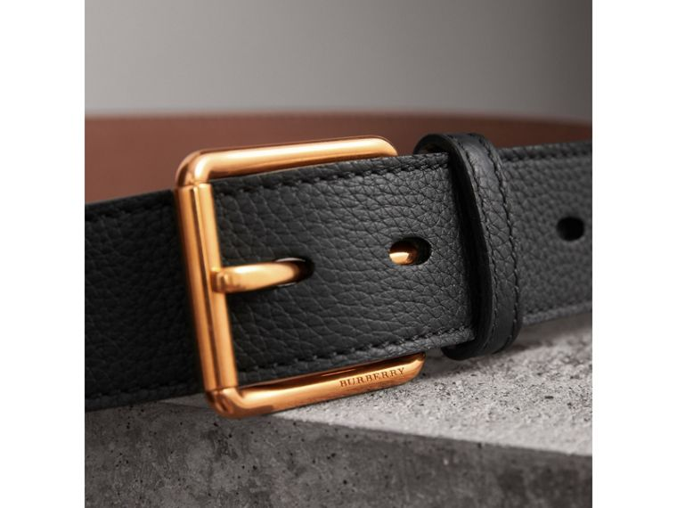 Grainy Leather Belt in Black - Men | Burberry Australia - cell image 1