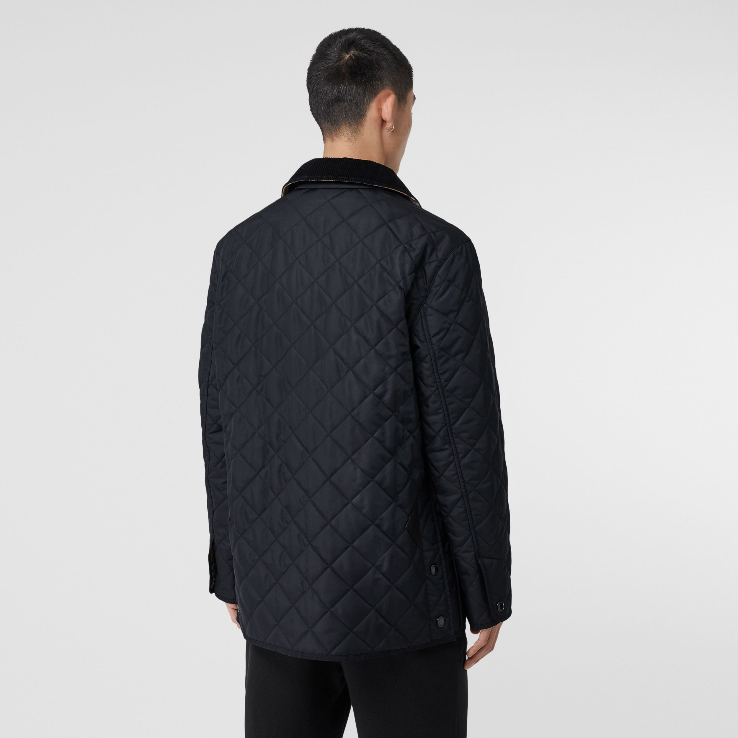 Diamond Quilted Thermoregulated Barn Jacket in Navy - Men | Burberry - 3