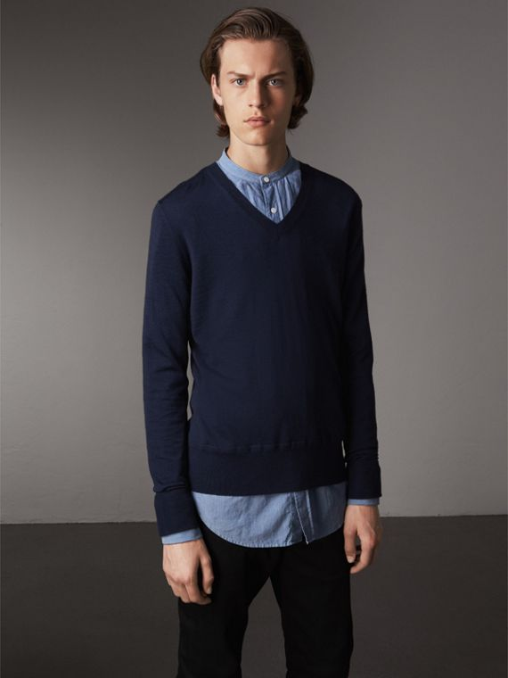 Merino Wool V-neck Sweater in Navy - Men | Burberry Singapore