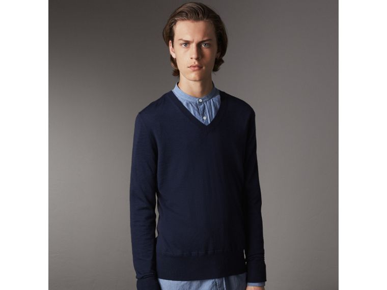 Merino Wool V-neck Sweater in Navy - Men | Burberry - cell image 4