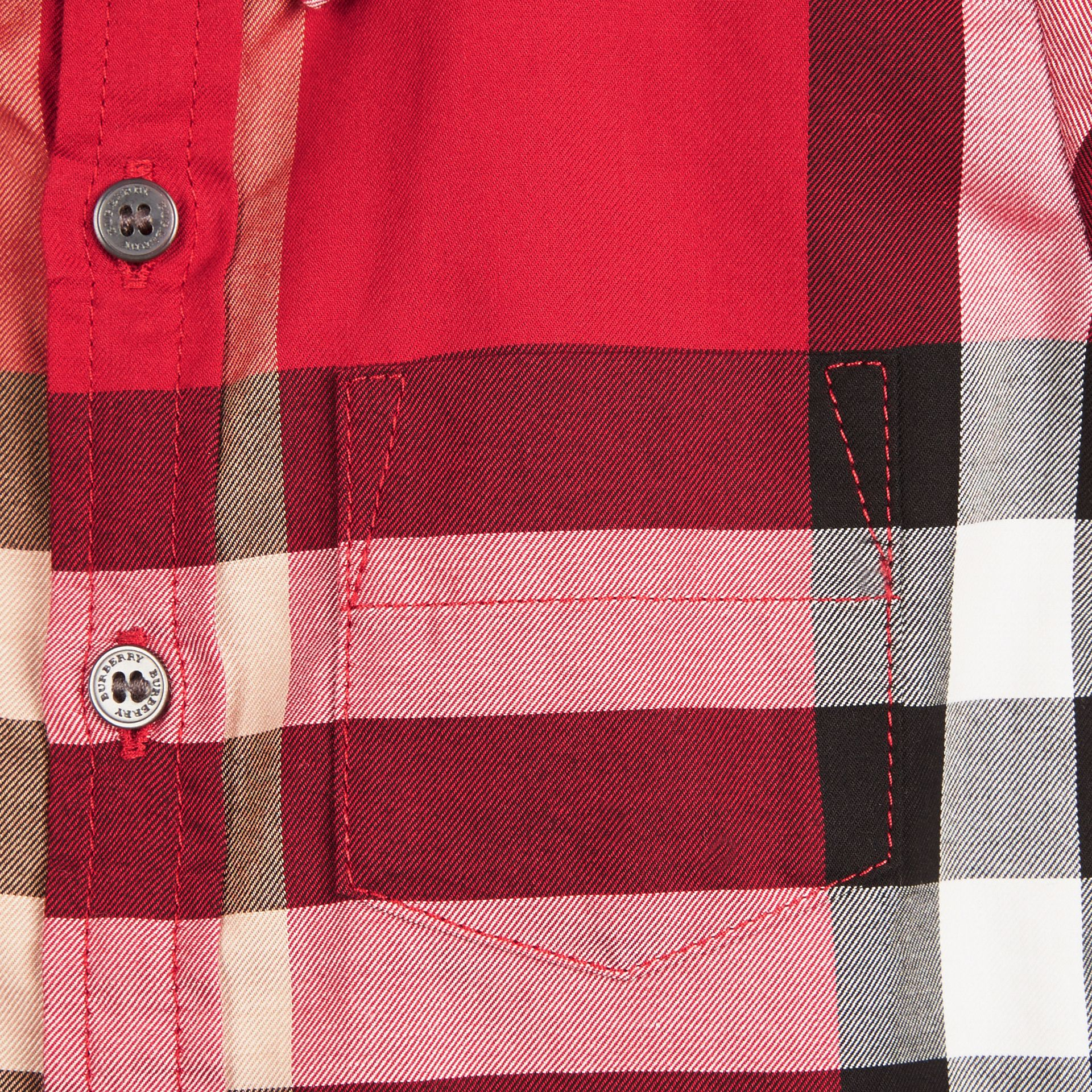 Check Cotton Twill Shirt in Parade Red - gallery image 2