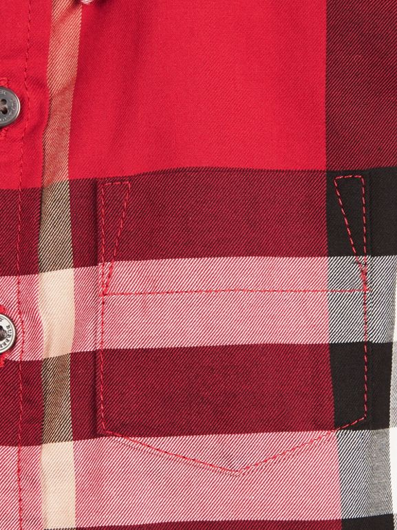 Check Cotton Twill Shirt in Parade Red | Burberry - cell image 1