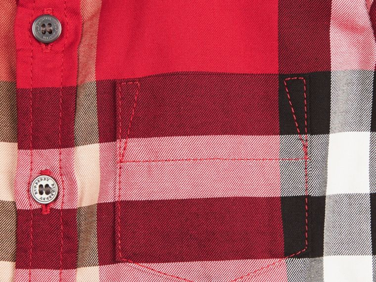 Check Cotton Twill Shirt in Parade Red - cell image 1