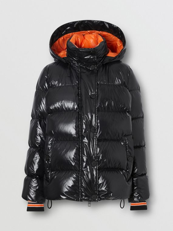 Detachable Hood Logo Graphic Puffer Jacket in Black