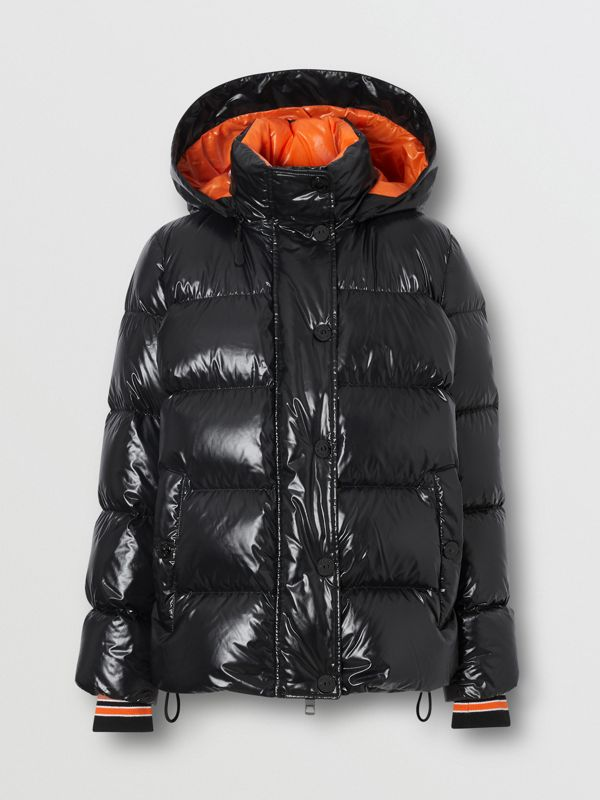 Detachable Hood Logo Graphic Puffer Jacket in Black - Women | Burberry - cell image 3