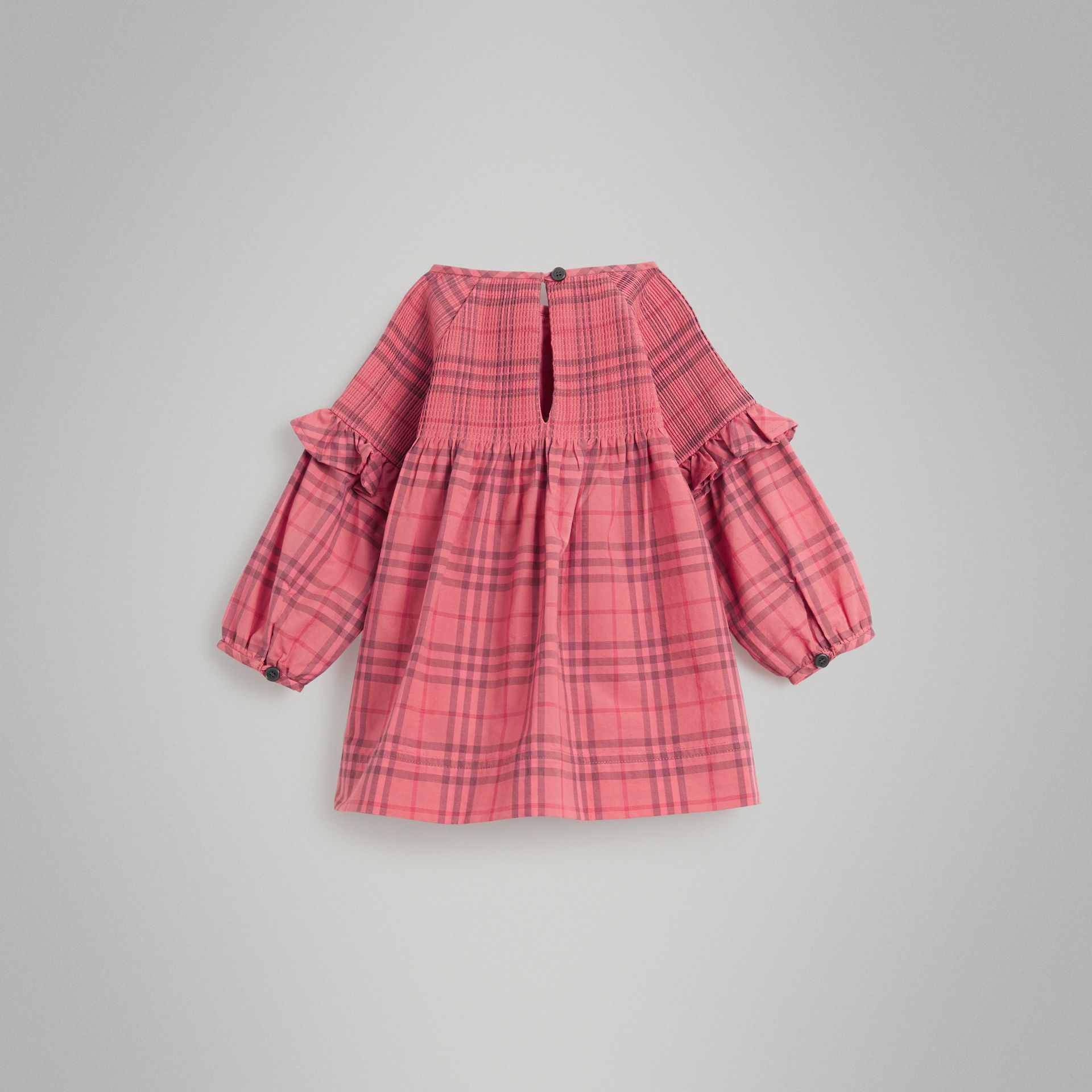 Ruffle Detail Check Cotton Dress in Coral Red - Children | Burberry Hong Kong - gallery image 3