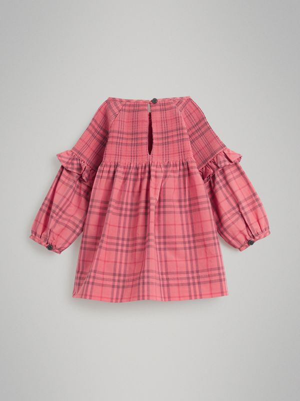 Ruffle Detail Check Cotton Dress in Coral Red - Children | Burberry Hong Kong - cell image 3