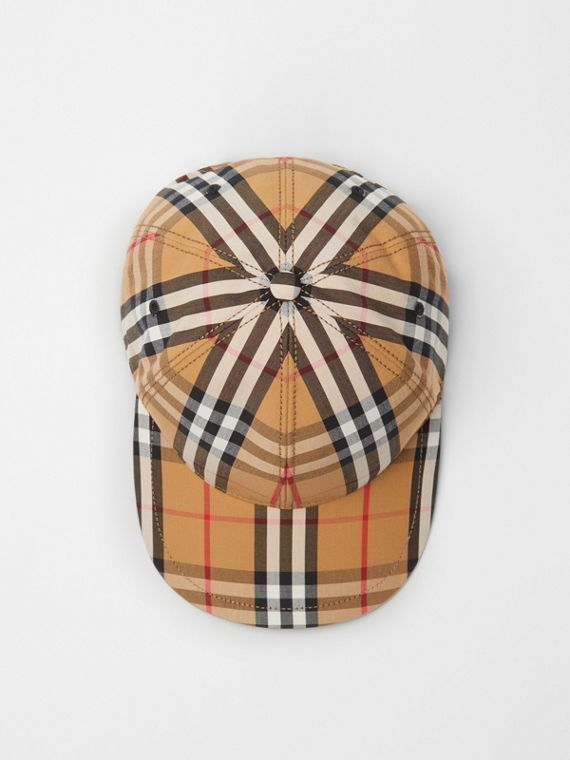 Vintage Check Baseball Cap in Antique Yellow 2d86b45c819
