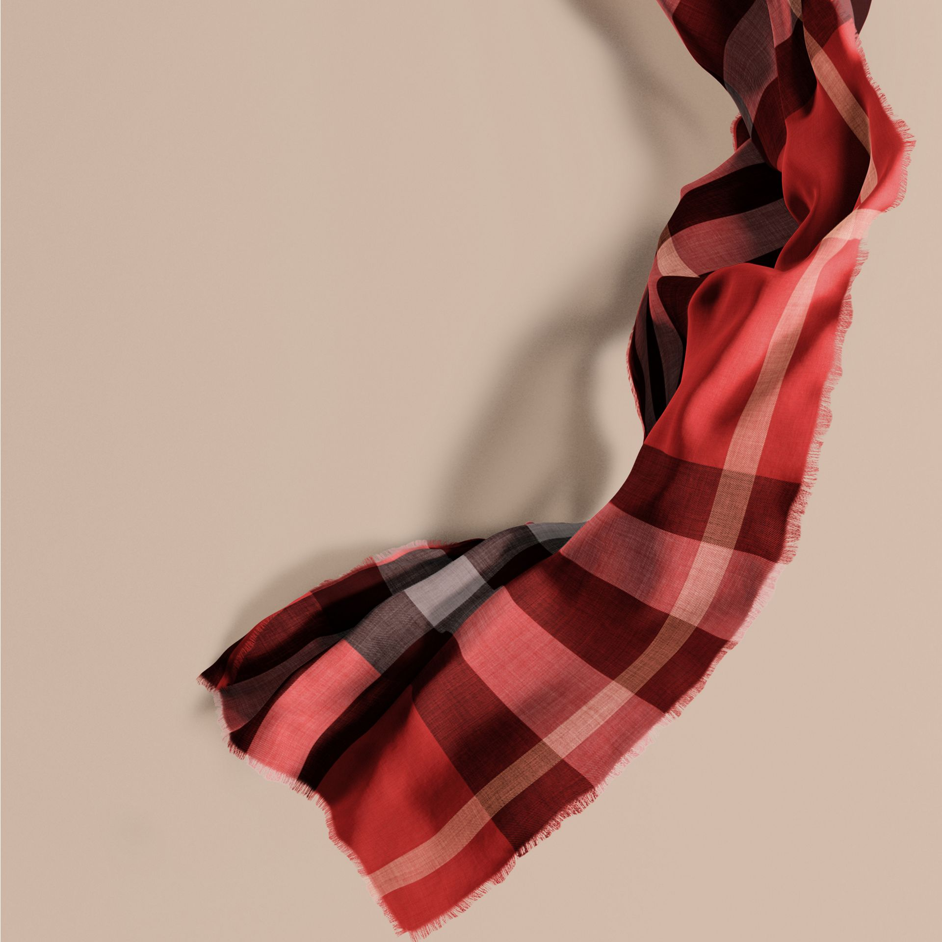The Lightweight Cashmere Scarf in Check in Parade Red - gallery image 1