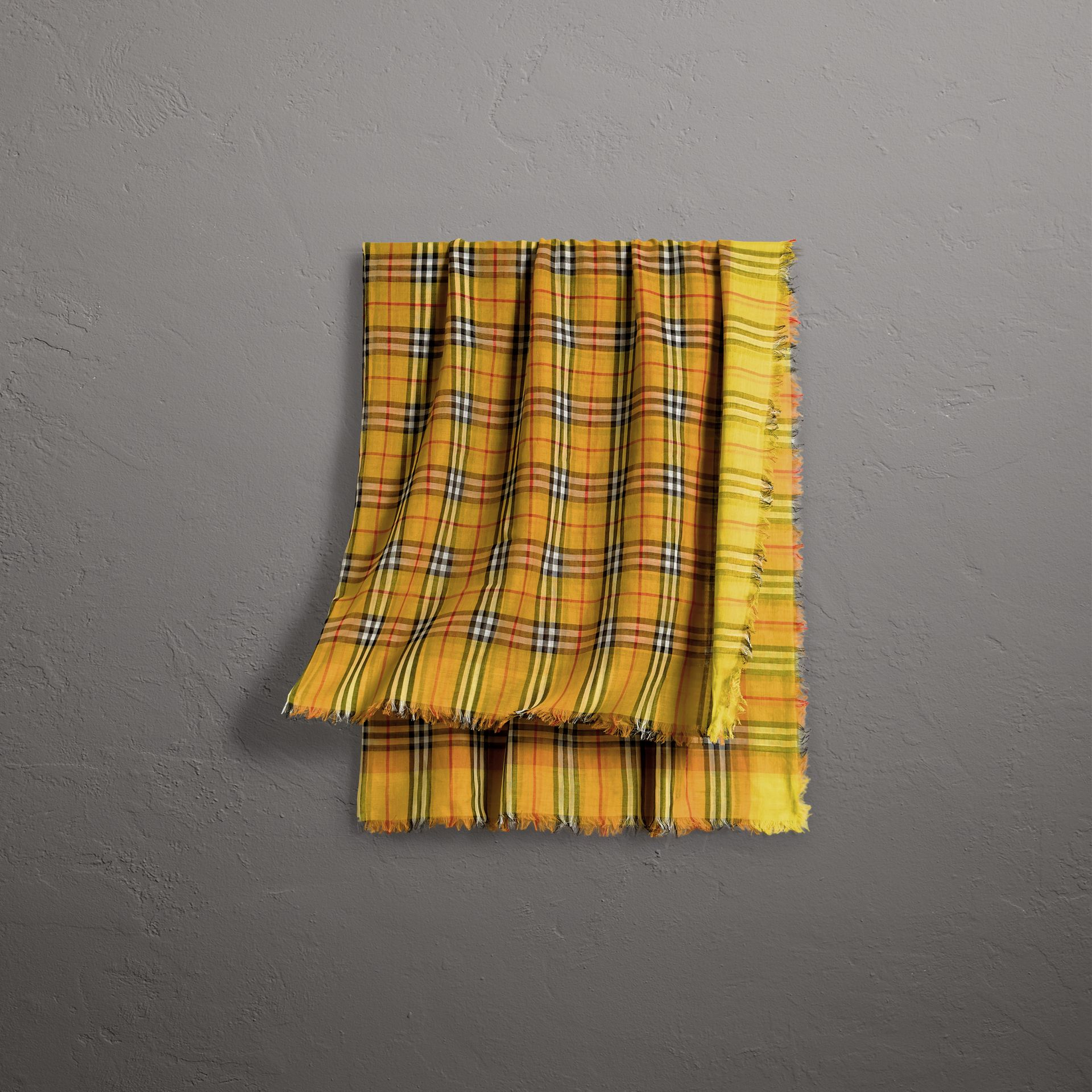 Two-tone Vintage Check Cotton Square Scarf in Bright Lemon | Burberry - gallery image 0