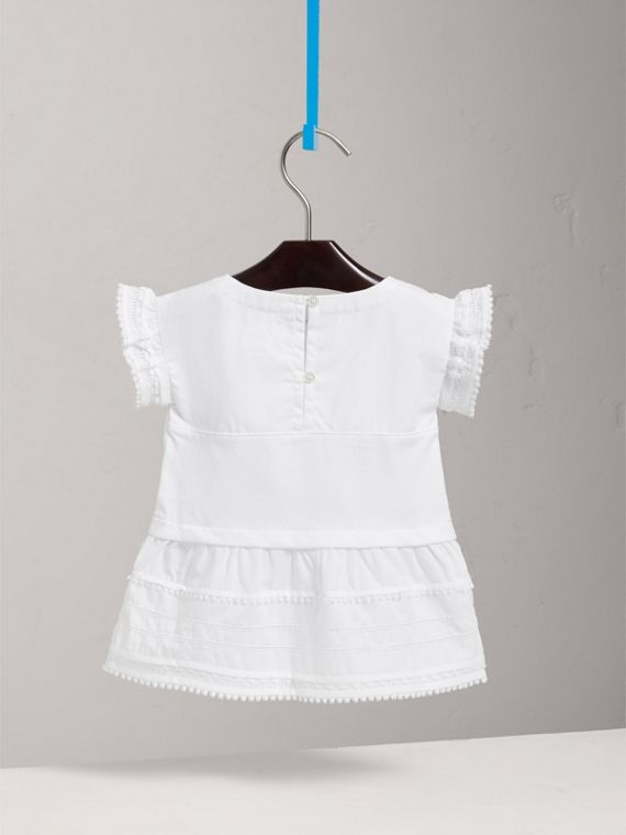 Lace Detail Cotton Dress in White | Burberry Singapore - cell image 3