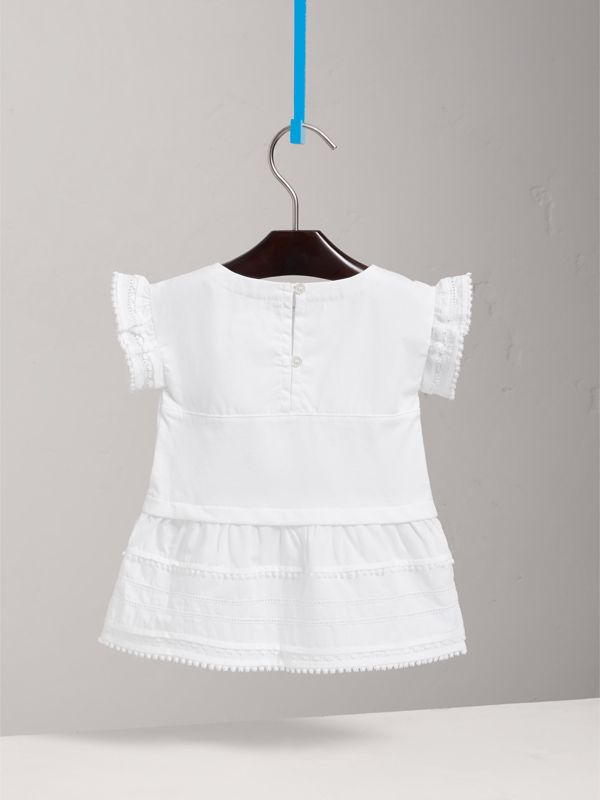 Lace Detail Cotton Dress in White | Burberry - cell image 3
