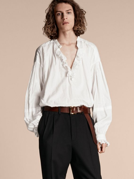Ruffle-trimmed Cotton Voile Tunic Shirt