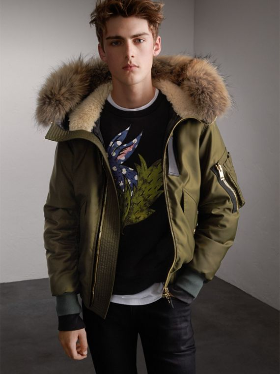 Raccoon Fur and Shearling Hood Duck-down Jacket in Caper Green
