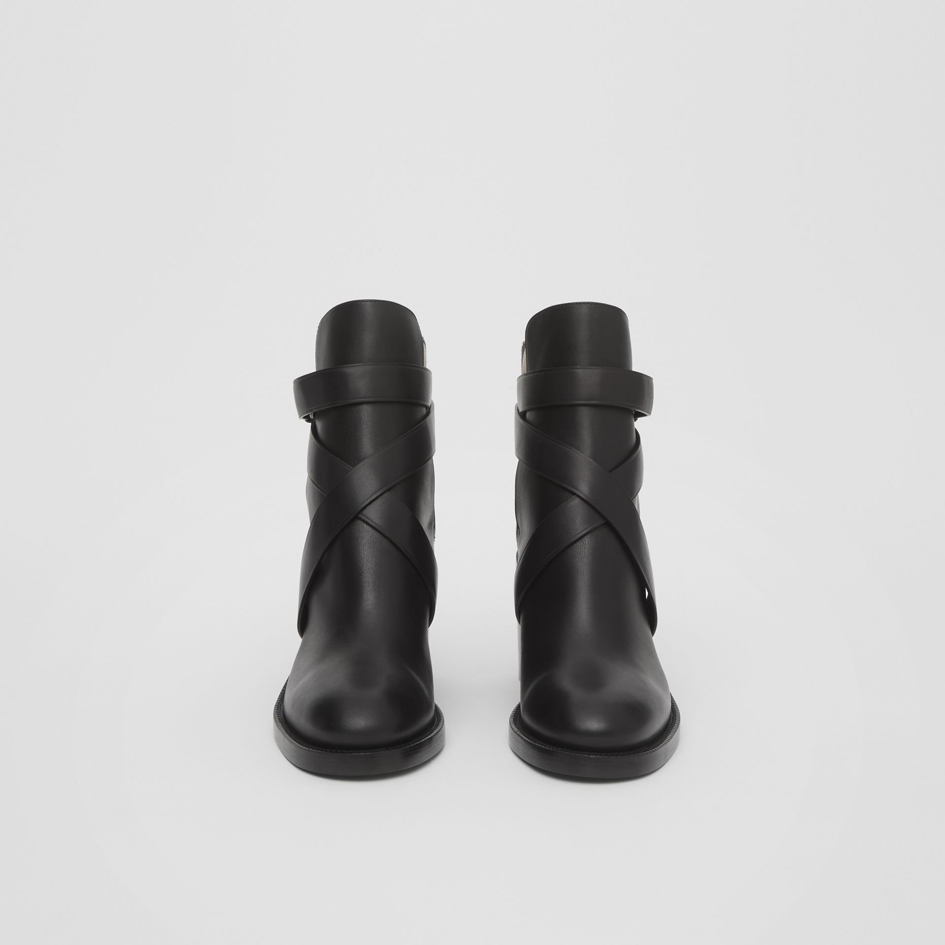 Vintage Check and Leather Ankle Boots in Black/archive Beige - Women | Burberry United Kingdom - gallery image 3