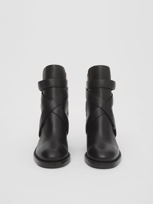 Vintage Check and Leather Ankle Boots in Black/archive Beige - Women | Burberry United Kingdom - cell image 3
