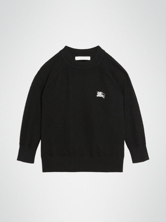 Jersey en cachemir con cuello redondo (Negro)
