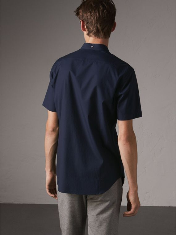 Short-sleeved Stretch Cotton Poplin Shirt in Navy - Men | Burberry - cell image 2