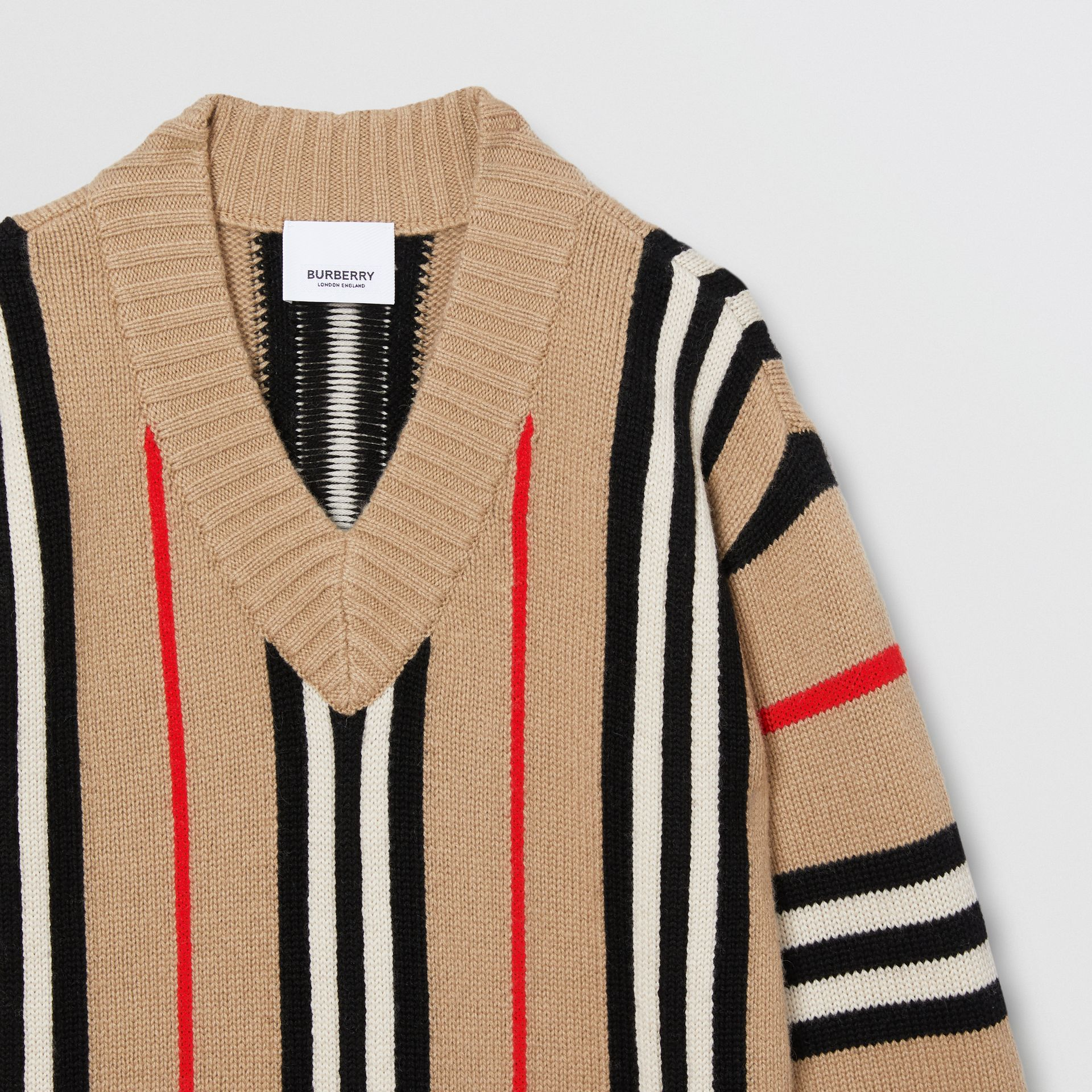 Icon Stripe Wool Cashmere Jacquard Sweater Dress in Archive Beige | Burberry - gallery image 4