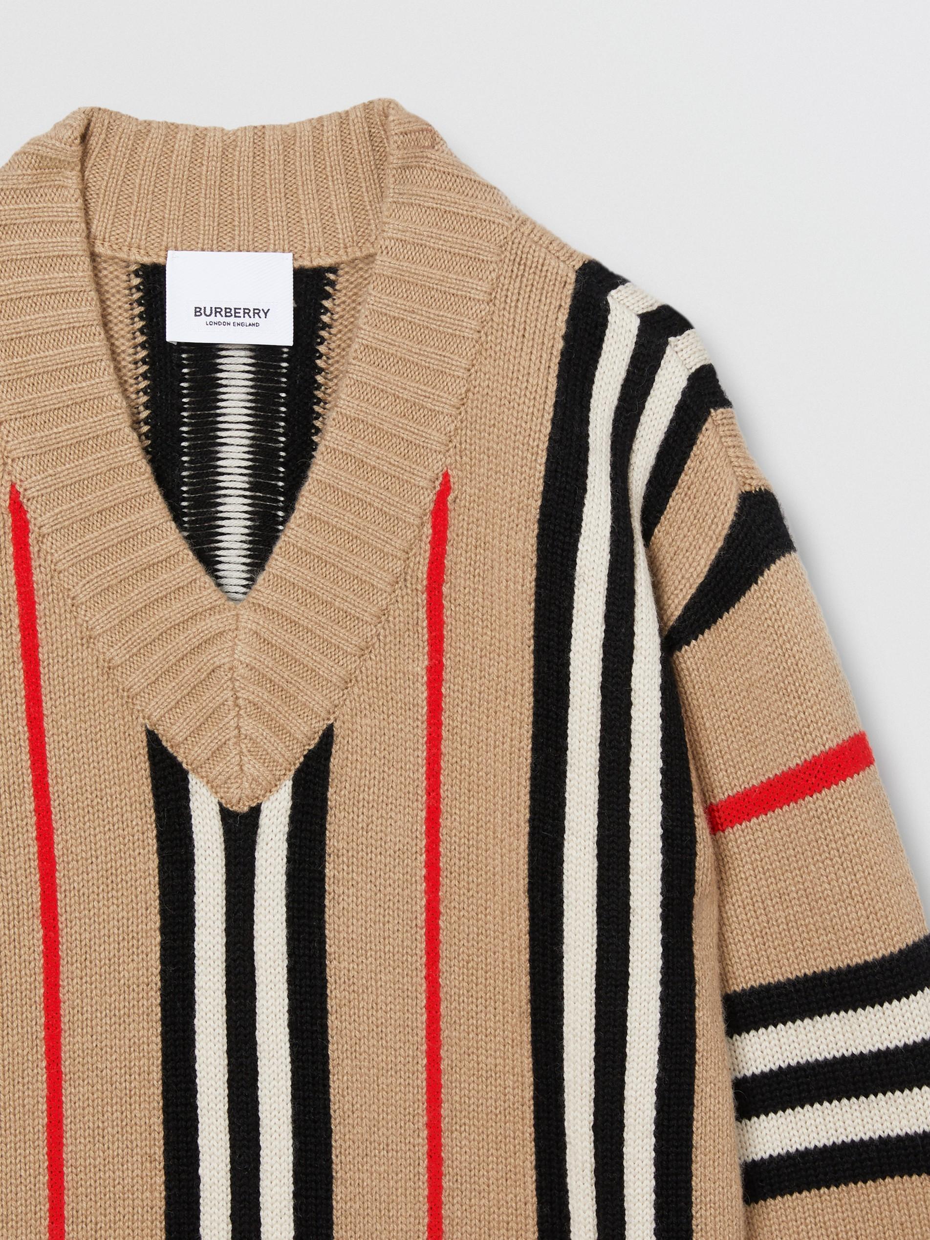 针织提花面料图片_标志性条纹羊毛混纺提花针织裙 (典藏米色) | Burberry 博柏利