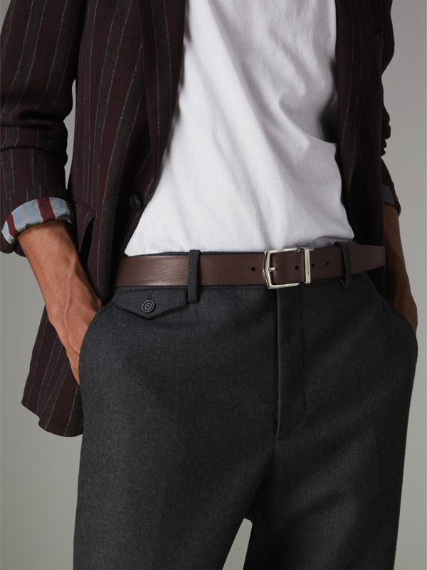 Reversible London Leather Belt in Black/chocolate - Men | Burberry Canada - cell image 3