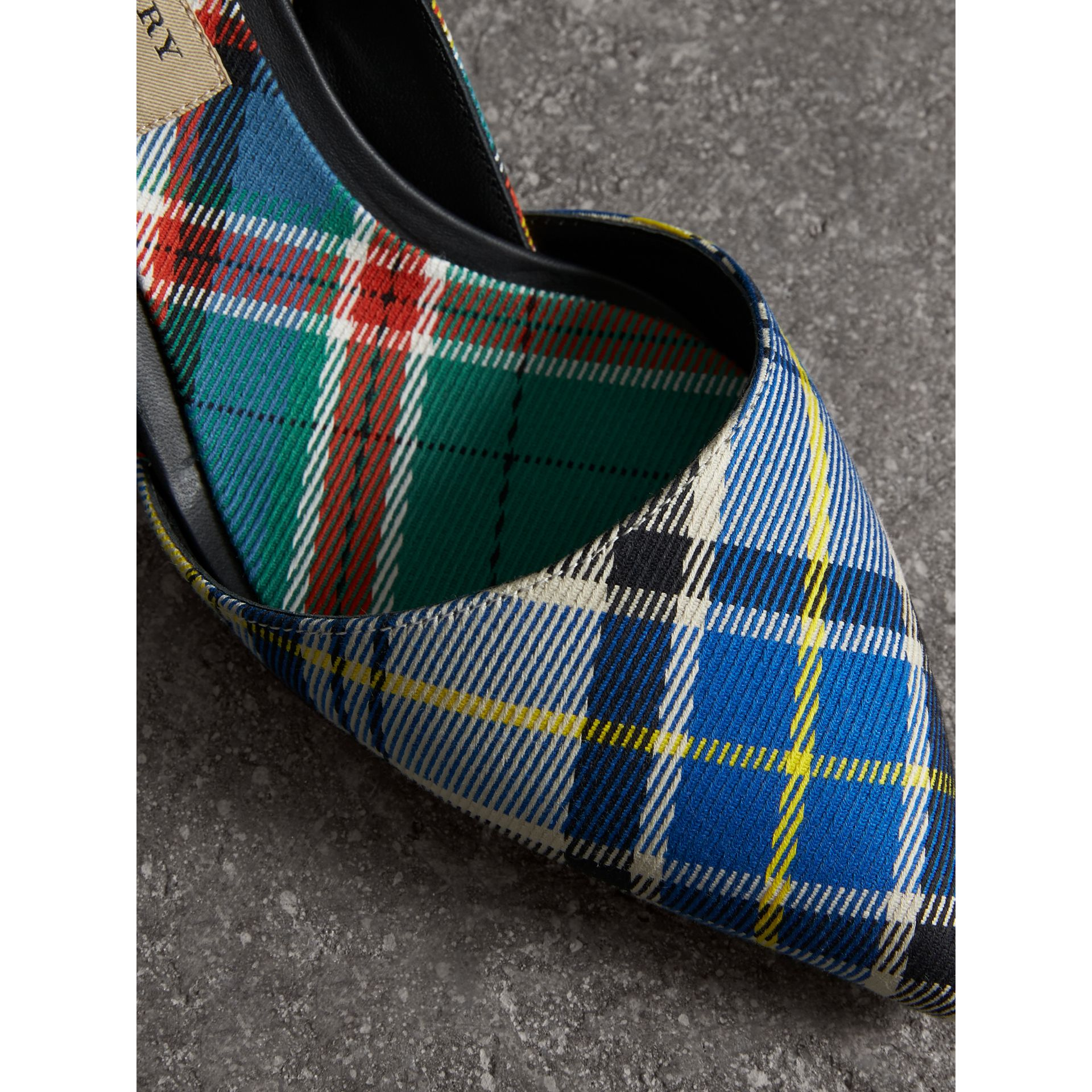 Tartan Cotton Slingback Pumps in Poppy Orange - Women | Burberry Singapore - gallery image 1